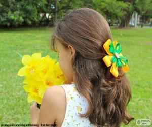 Rompicapo di Ragazza con fiori
