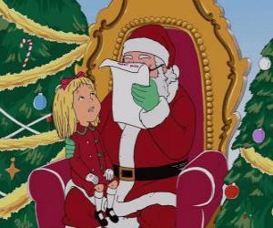 Rompicapo di Ragazza parlando congli Babbo Natale