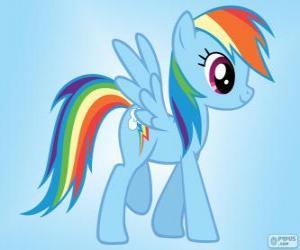 Rompicapo di Rainbow Dash, un pony pegaso con la coda dell'arcobaleno