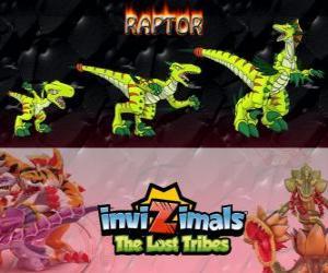 Rompicapo di Raptor, ultima evoluzione. Invizimals Le Tribù Scomparse. Cacciatore pericoloso che è veloce, intelligente, aggressivo