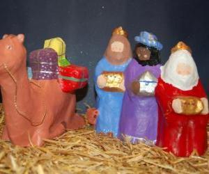 Rompicapo di Re Magi Melchiorre, Baldassarre e Gaspare con i loro doni