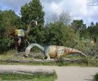Gruppo di tre dinosauri nel paesaggio