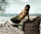 Sirena seduta su una roccia in riva al mare