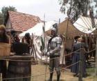 Guerrero protetti con armature e caschi e armati