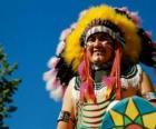 Volto dil capo indiano con le vernici di guerra e le piume sulla testa