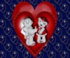 Due orsi nell'amore con cuori