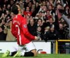 Cristiano Ronaldo festeggia un gol quando ha giocato per il Manchester United