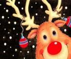 La testa di Rodolfo, la renna dil naso rosso, decorati con le decorazioni di Natale