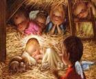 Il Bambino Gesù nella mangiatoia con la protezione di un angelo