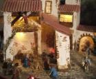 Principale della scena della Natività con la Sacra Famiglia in una stalla