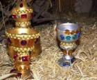 Loro doni dei Re Magi, oro, incenso e mirra al Bambino Gesù