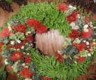 Ghirlanda di Natale fatto di elementi vegetali