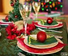 Tavolo di Natale decorato