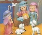 Gesù nella mangiatoia con Giuseppe, Maria e un pastore con le pecore