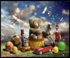 Un orsacchiotto seduto su un tamburo, balli e altri preziosi doni di Natale