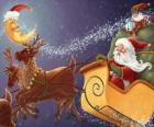 Slitta di Natale trainata da renne magico e carico di regali, Babbo Natale e un elfo