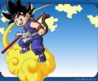 Goku in sella alla sua nube Kinton che può volare ad alta velocità