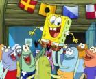 SpongeBob salutata dagli abitanti di Bikini Bottom