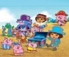 Dora con i suoi amici a giocare a pirati essere