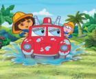 Dora l'esploratore ragazza accanto alla scimmia Boots, con un motore di fuoco