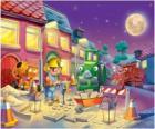 Bob ei suoi amici a trabajano notte riparazione di una strada urbana