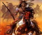 Indiano guerriero che anda a cavallo