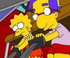 Lisa lungo migliore amico Brat, Milhouse giocando con i pedali della macchina