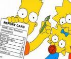 Bart Simpson, con note dalla scuola sotto gli occhi vigili delle loro sorelle