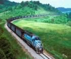 Treno merci con molte automobili