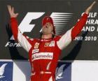 Fernando Alonso celebra la sua vittoria al Gran Premio del Bahrain (2010)