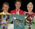 Blanka Vlasic Alta campione di salto, Emma Green e Ariane Friedrich (2 ° e 3 °) di atletica leggera Campionati europei di Barcellona 2010