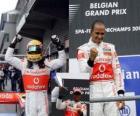 Lewis Hamilton festeggia la sua vittoria a Spa-Francorchamps, Gran Premio del Belgio 2010