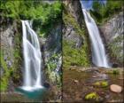la cascata del Saut Deth Pish, tra i 25 ei 30 metri di altezza la Val d'Aran, in Catalogna, Spagna.