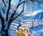 due orsi molto caldo in un paesaggio di Natale