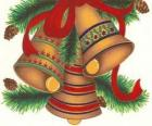 Set di tre campane ornato con decorazioni di Natale