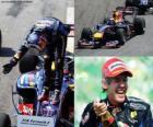 Sebastian Vettel festeggia la sua vittoria al Gran Premio del Brasile (2010)