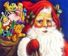 Babbo Natale con un grande sacco pieno di giocattoli per dare ai bambini a Natale