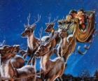La renna magica tirando la slitta di Babbo Natale nella notte di Natale