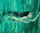 Sirena nuoto tra le alghe