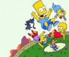 I fratelli Simpson con gli amici Milhouse e Nelson saltando su un trampolino