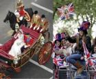 British Royal Wedding tra il principe William e Kate Middleton, camminando nel trasporto acalamados cittadini