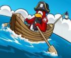 Il capitano Rockhopper e il suo animale domestico nella sua barca nel Club Penguin