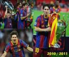 Leo Messi festeggia la Champions League 2010-2011