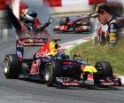 Sebastian Vettel festeggia la sua vittoria nel Gran Premio di Spagna (2011)