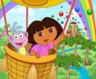Dora l'esploratrice e la sua amica scimmia Boots in mongolfiera