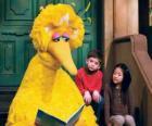Big Bird o leggendo un libro di fiabe