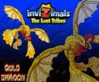 Gold Dragon. Invizimals Le Tribù Scomparse. Drago d'oro con quattro ali che più che il sole splende