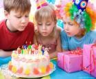 Ragazza nel momento di soffiare sulle candeline della sua torta di compleanno