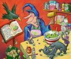 Strega preparando una pozione magica dal strani ingredienti