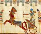 Guerriero egiziano, il faraone o un nobile con il suo cavallo ed il suo serbatoio di guerra